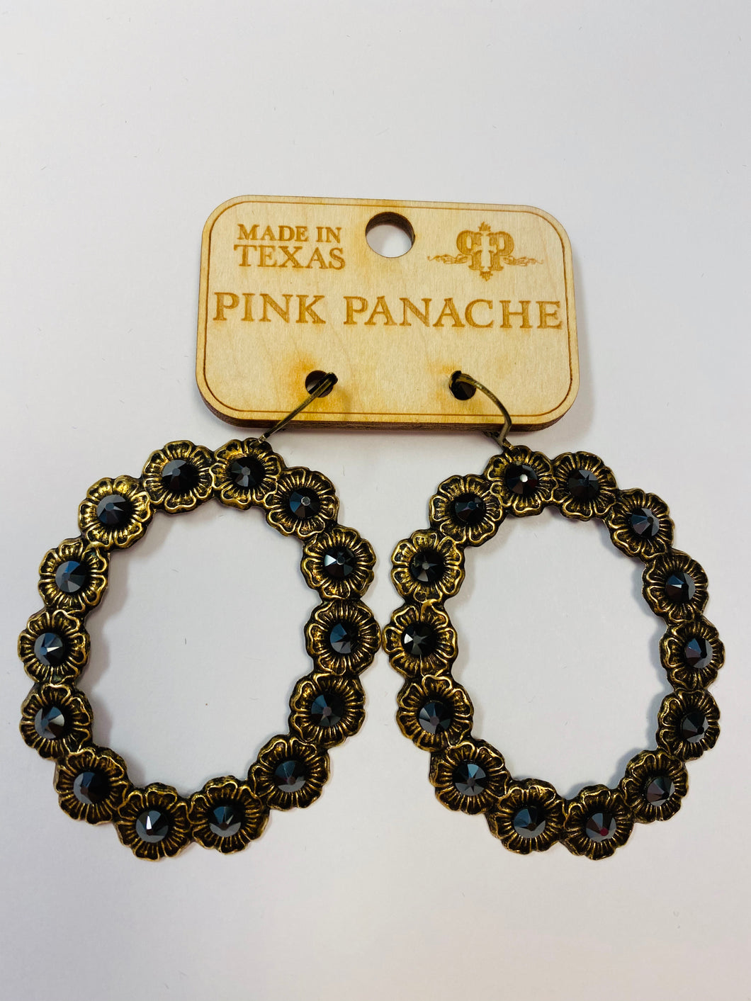 Pink Panache Circle Black Crystal Earrings- B5 Pink Panache-The Twisted Chandelier--The Twisted Chandelier