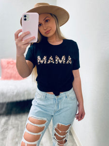 MAMA Leopard Graphic Tee-The Twisted Chandelier--The Twisted Chandelier