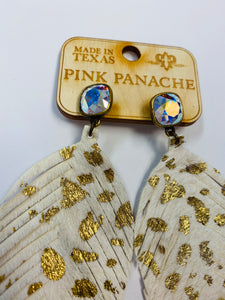 Pink Panache Stud Gold Cowhide Feather Earrings- A28-The Twisted Chandelier--The Twisted Chandelier