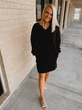 Load image into Gallery viewer, Darby V-Neck Sweater Dress (Plus Size Black)-The Twisted Chandelier--The Twisted Chandelier