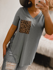 PLUS SIZE Cheetah BF Pocket Tee - (BLUE GREY)-Zenana--The Twisted Chandelier