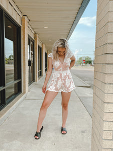 Sunset Nights Romper-The Twisted Chandelier-floral, lace, romper, ruffle, sunset nights-The Twisted Chandelier