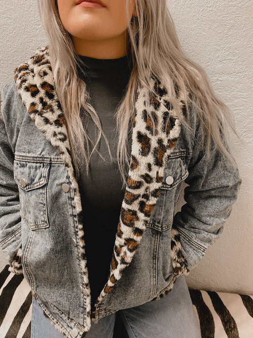 Elle Leopard Fur Hoodie Denim Jacket-Jacket-Veveret-denim, leopard, NOV2020, November 2020, November2020-The Twisted Chandelier