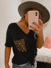 Load image into Gallery viewer, PLUS SIZE Cheetah BF Pocket Tee - (CHARCOAL)