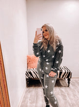 Load image into Gallery viewer, Simone Lounge Top - Charcoal Grey with White Stars-Fornia Fashion-DOORBUSTER, NOV2020, November 2020, November2020-The Twisted Chandelier