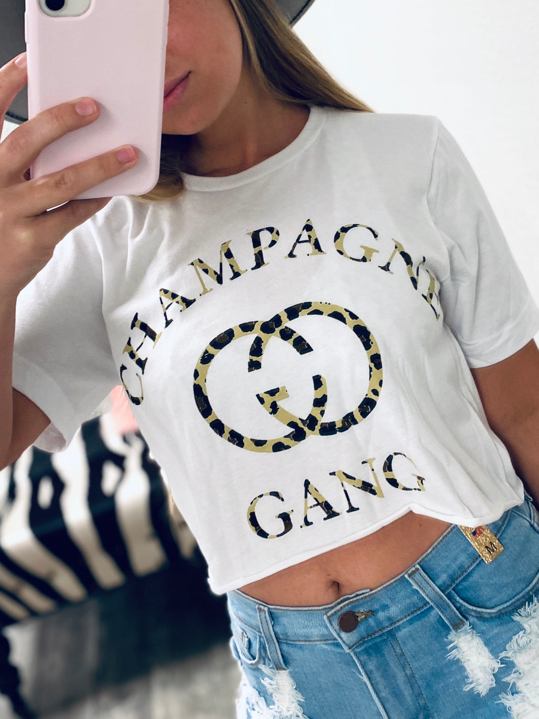 Champagne Gang Crop Tee-The Twisted Chandelier-babe tee, cheetah tee, crop tee-The Twisted Chandelier
