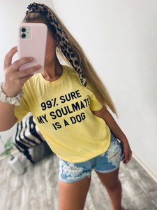 My Soulmate Is A Dog - Yellow-The Twisted Chandelier-babe tee, cheetah tee, crop tee-The Twisted Chandelier