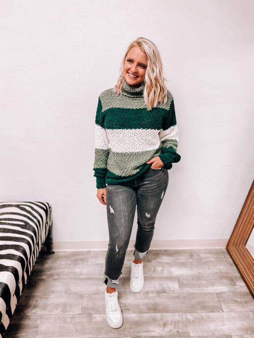 Serena Popcorn Sweater (Hunter Green)-Tunic-Zenana-nova turtle neck, november2020, tunic-The Twisted Chandelier