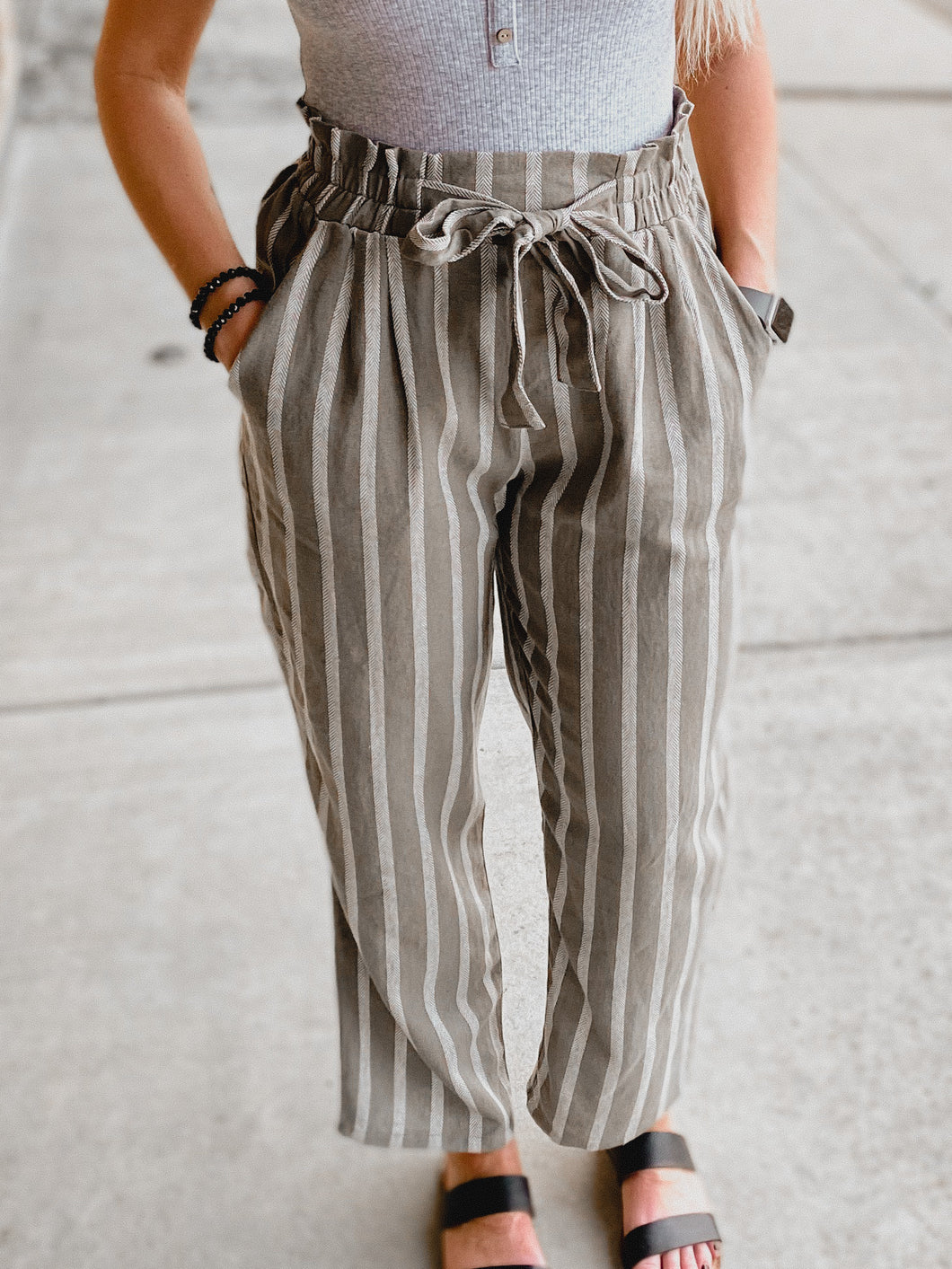 Boss Babe Striped Pants (Olive)-The Twisted Chandelier--The Twisted Chandelier