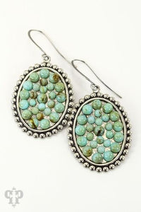 Turquoise on Silver Mini Ovals- e410stc-The Twisted Chandelier--The Twisted Chandelier