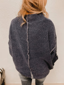 Haven Inverted Sweater (navy)-Tunic-Zenana-nova turtle neck, november2020, tunic-The Twisted Chandelier