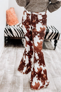Roxy Cowhide Bell Bottoms-Bell Bottoms-L & B-bell, bell bottoms, bells, cow, cow print, Cowgirl, Cowhide, high waist, high waisted, november2020-The Twisted Chandelier