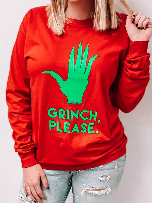 """Grinch Please"" Long Sleeved Shirt-T-Shirt-Oliver & Otis-grinch shirt, November2020-The Twisted Chandelier"