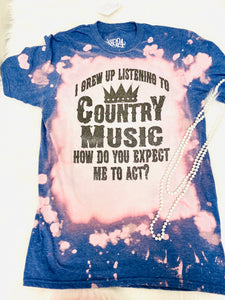 Country Music Bleached Tee-The Twisted Chandelier--The Twisted Chandelier
