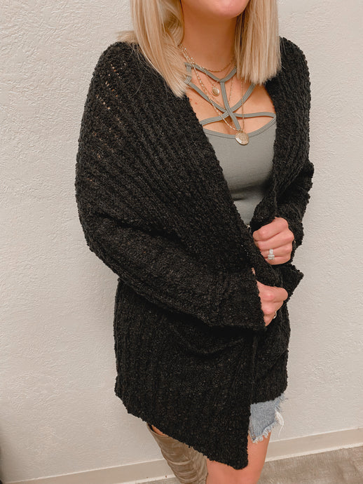 NEW Popcorn Cardigan (Black)-The Twisted Chandelier--The Twisted Chandelier