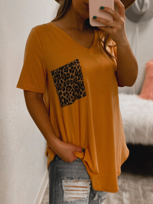 PLUS SIZE Cheetah BF Pocket Tee - (MUSTARD)-The Twisted Chandelier--The Twisted Chandelier