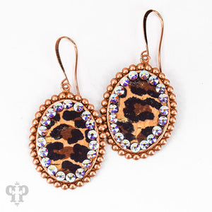 Rose Gold Leopard Small Ovals- E410GABLE pink panache earrings-The Twisted Chandelier--The Twisted Chandelier