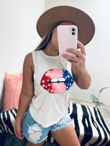 USA KISSES Crop Tee-The Twisted Chandelier-babe tee, cheetah tee, crop tee-The Twisted Chandelier