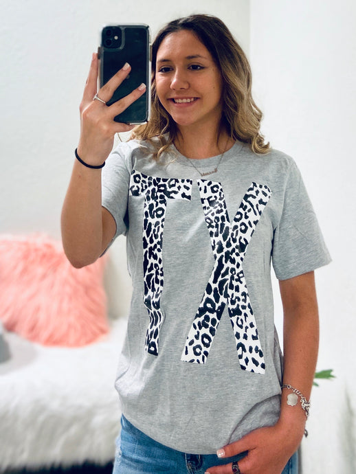 Leopard Texas Graphic Tee-The Twisted Chandelier--The Twisted Chandelier