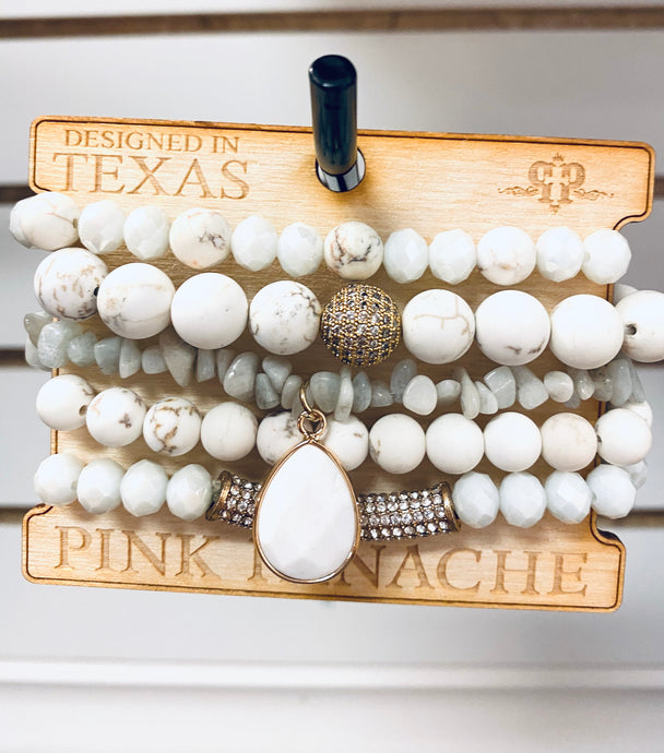 White Beaded 5 Set Bracelet Set -CNC F09 Pink Panache Bracelets-The Twisted Chandelier--The Twisted Chandelier