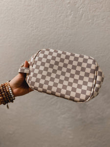 Queen B Checkered Makeup Bags-Babe Wholesale Co.-Accessories, Checker, Checkered, DOORBUSTER, Louis, LV, MakeUp, Makeup Bag, NOV2020, November 2020, November2020, Vuitton-The Twisted Chandelier