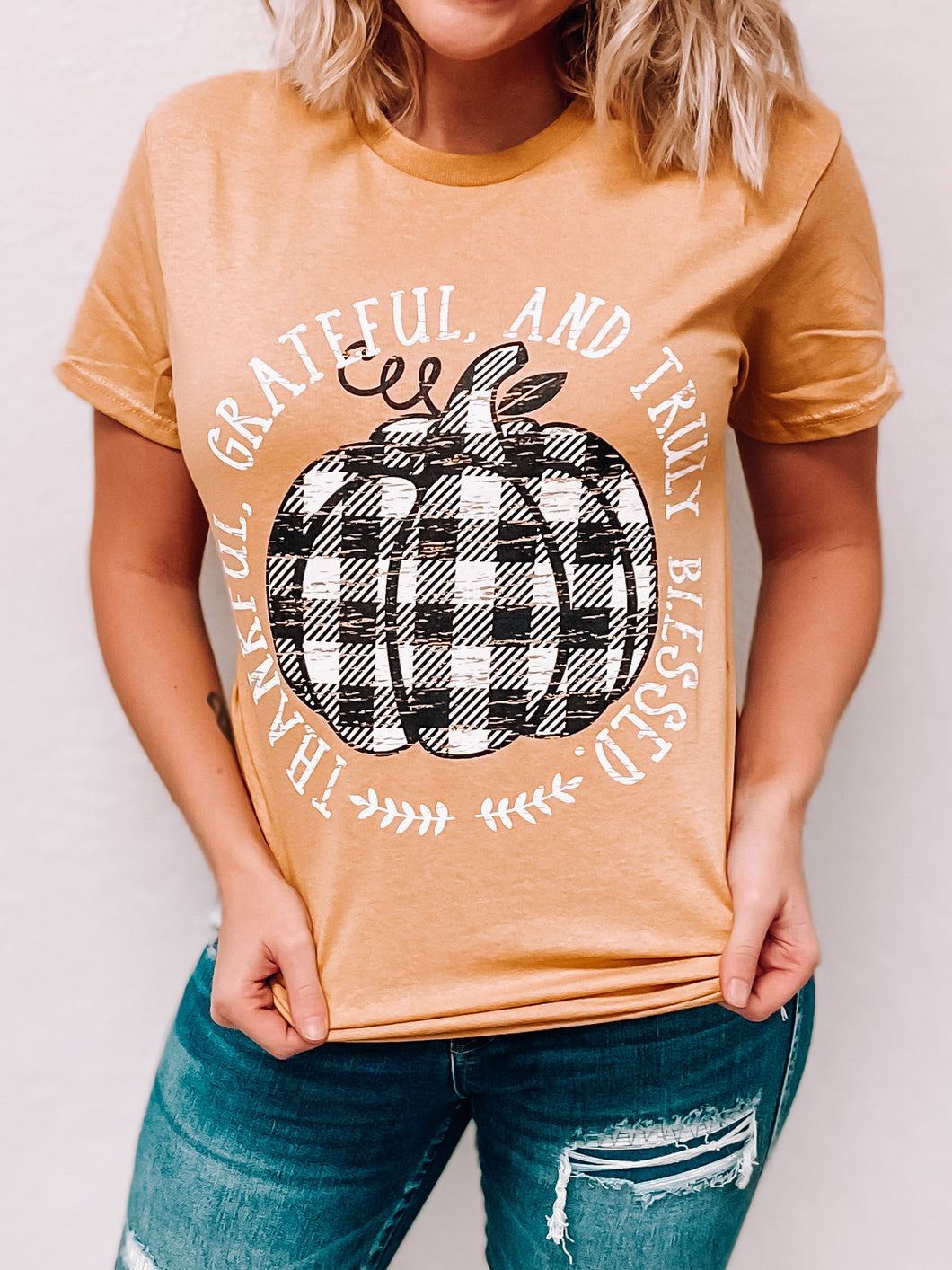 Truly Blessed Pumpkin T-Shirt-The Twisted Chandelier--The Twisted Chandelier