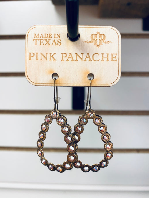 Gold iridescent drop- A13 pink panache-The Twisted Chandelier--The Twisted Chandelier