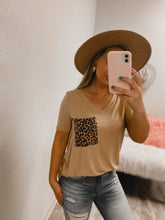 Load image into Gallery viewer, Cheetah BF Pocket Tee - (MUSTARD)-The Twisted Chandelier--The Twisted Chandelier