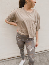 Load image into Gallery viewer, Emory Cropped Basic Pocket Tee (taupe)-Shirt-Mono B-basic tee, january2020, pocket tee-The Twisted Chandelier