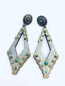 Turquoise on Silver Diamond Earring- e470st-The Twisted Chandelier--The Twisted Chandelier