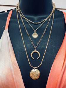 Gold Stacked Moon Necklace-The Twisted Chandelier--The Twisted Chandelier