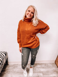 Delilah Turtleneck Knitted Sweater (almond)-Tunic-Zenana-nova turtle neck, november2020, tunic-The Twisted Chandelier