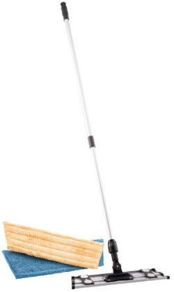 Velcro Microfiber Mopping System with Telescopic Handle and One Dry Dusting Pad and Wet Mopping Pad