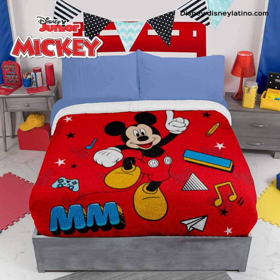 Disney Junior Mickey Mouse Cobertor Fleece con Borrega