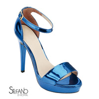 sandalia para damas  en color azul metalico brillante