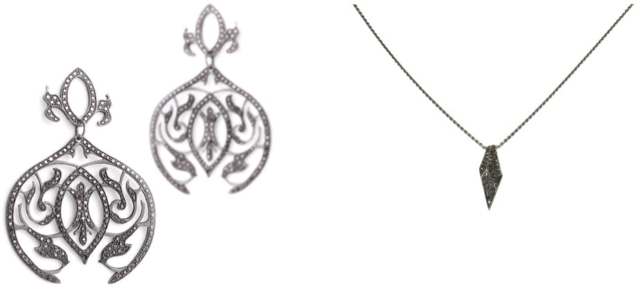 Arabesque Dangle Earrings and Vertical Shard Necklace