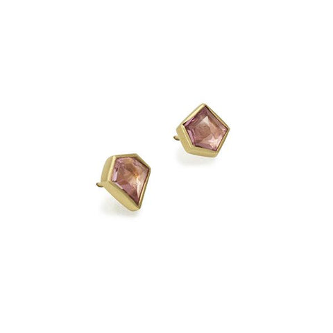 For earrings just as unique as you, Marion Cage's Geo Spinel Studs feature two unique and slightly irregular spinel stones.