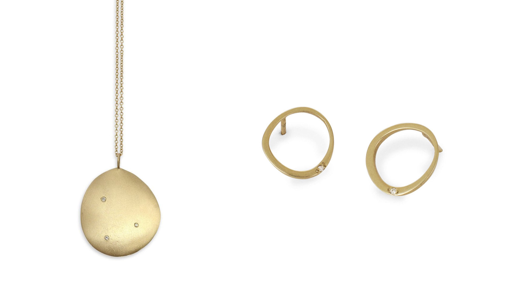 Large Disc Pendant and Offset Circle Stud Jewelry for Work
