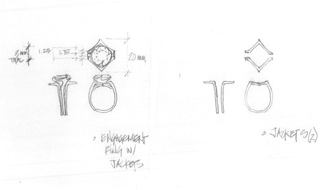 Initial sketches of a custom made wedding ring design.