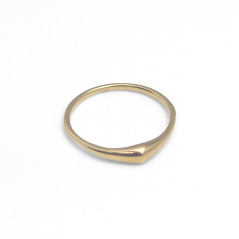 Solid gold rings, such as this Swell Stacking Ring from Marion Cage, provide a much better value than vermeil gold jewelry.