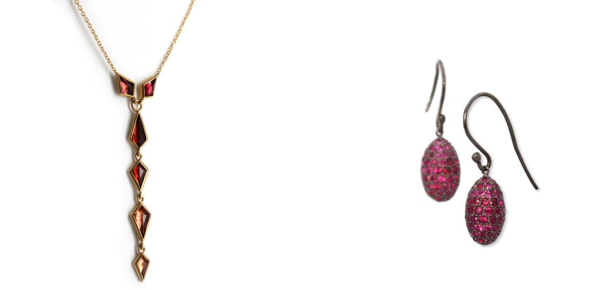 Spinel Cascade Necklace and Egg Drop Earrings