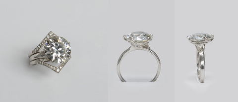 Finalized custom made wedding rings from Marion Cage.