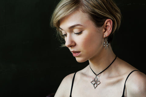 Black rhodium jewelry, such as this Arabesque Star Pendant and matching Arabesque Star Earrings, gives jewelry a radiant luster.