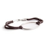 "sterling silver with brown leather / S (6"") ""o"" id bracelet"
