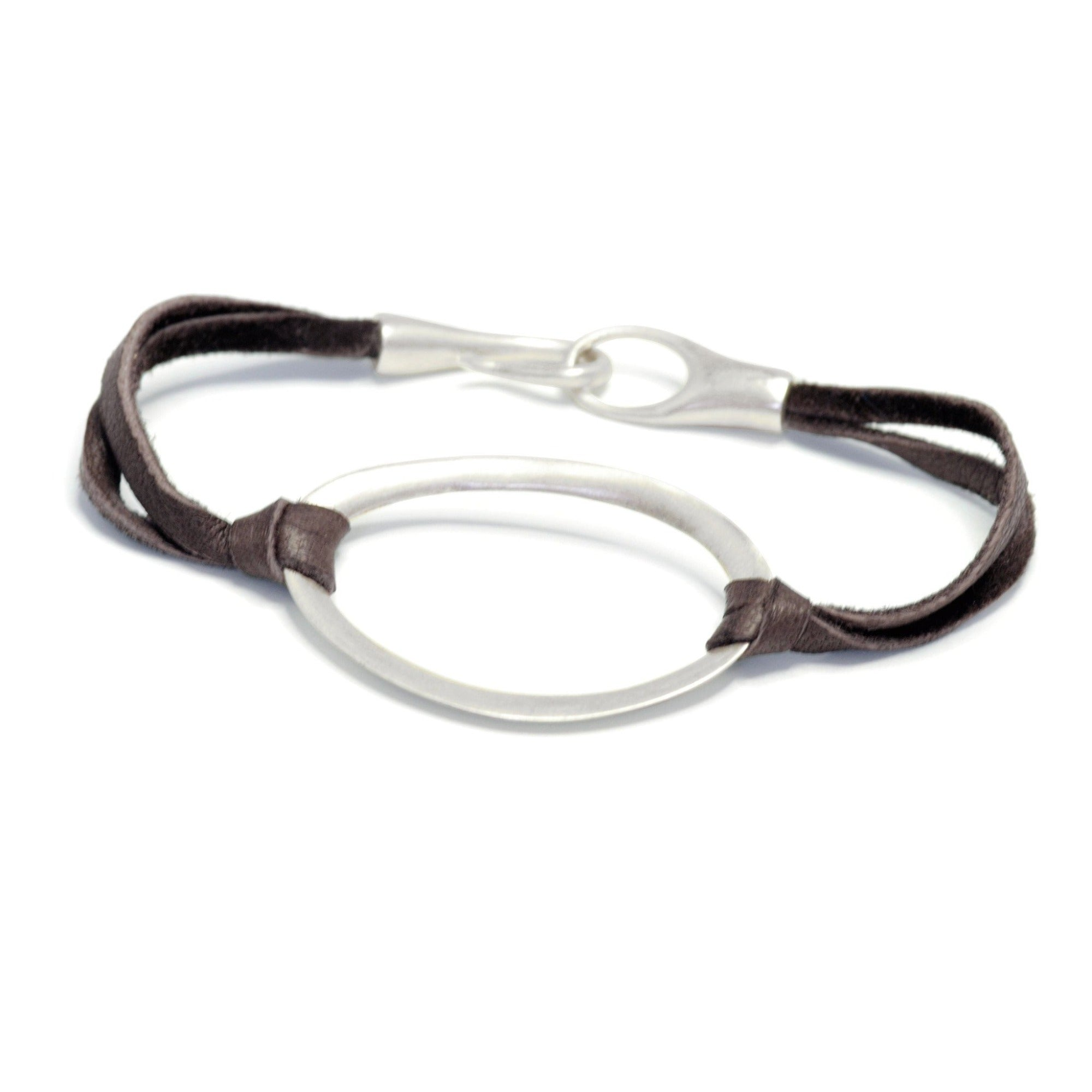 "sterling silver on brown leather / S (6"") oculus id bracelet"