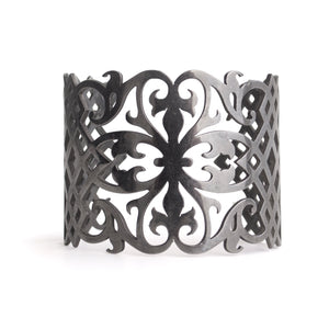 sterling silver plated in black rhodium arabesque cuff