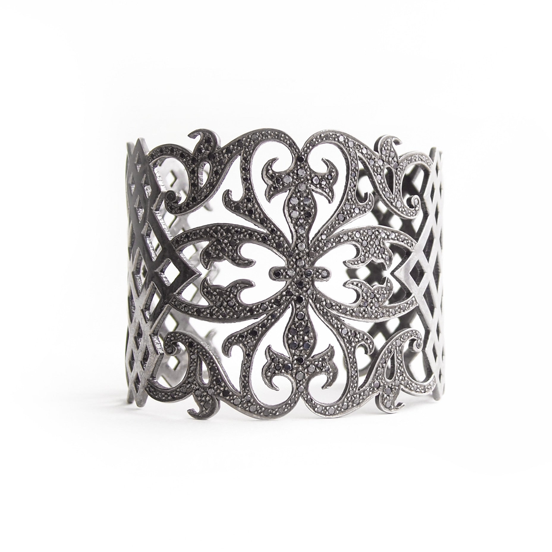 sterling silver plated in black rhodium with black pave diamonds arabesque cuff