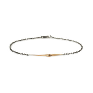 18k rose gold/oxidized silver chain mirror points bracelet