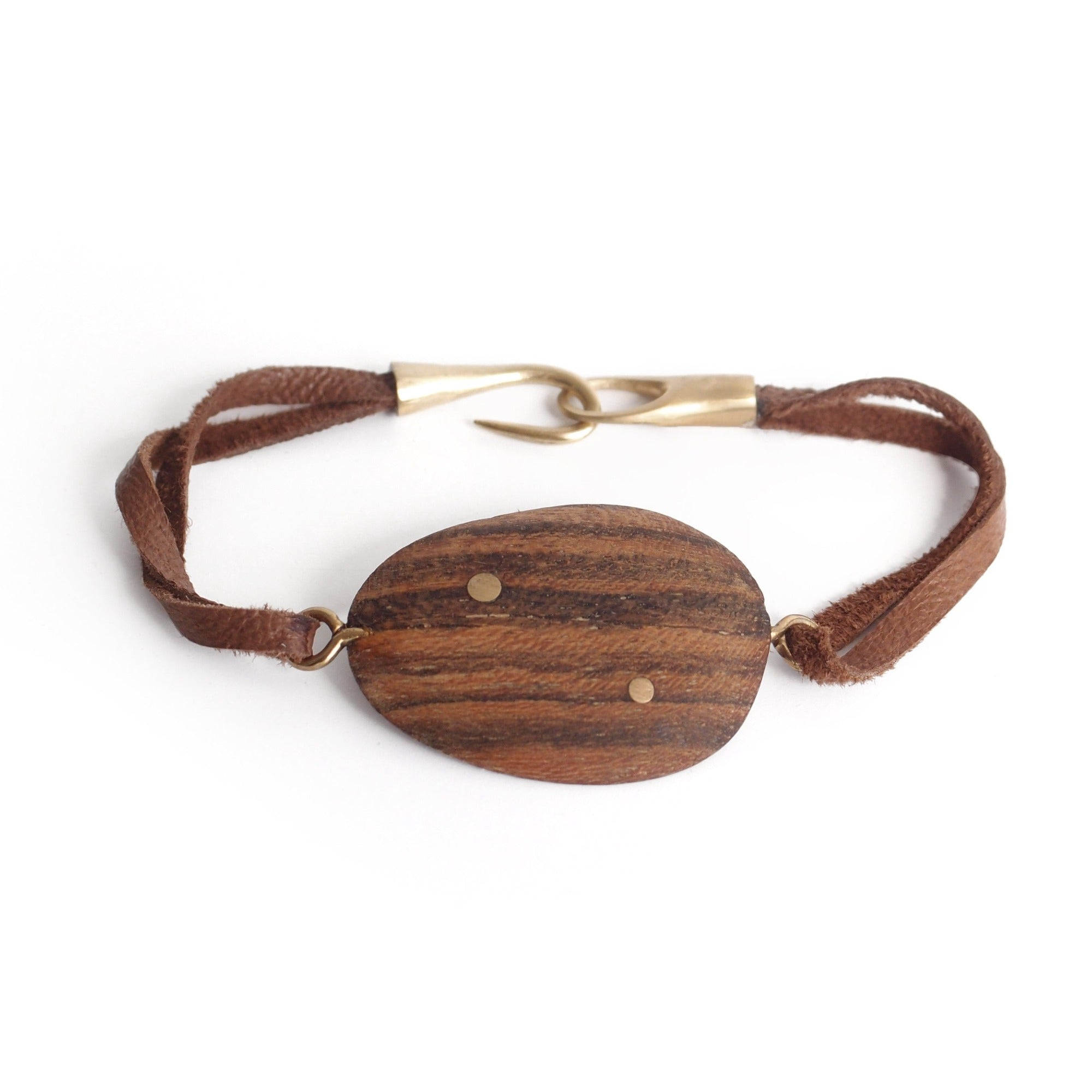 "bocote/bronze / S (6"") wood totem inlay bracelet"