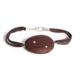 "rosewood/sterling silver / S (6"") wood totem inlay bracelet"